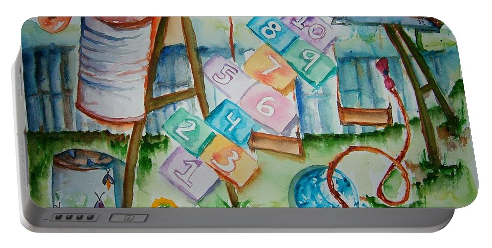 Backyard Portable Battery Charger featuring the painting Backyard Play Simple Times by Elaine Duras