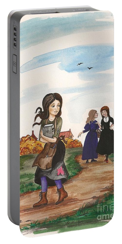 Painting Portable Battery Charger featuring the painting Bad Jokes by Margaryta Yermolayeva