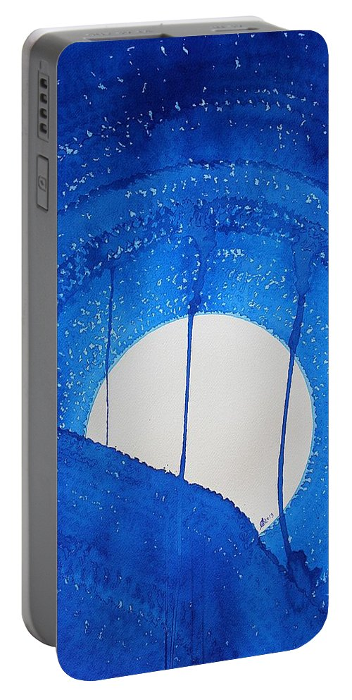 Moon Portable Battery Charger featuring the painting Bad Moon Rising Original Painting by Sol Luckman
