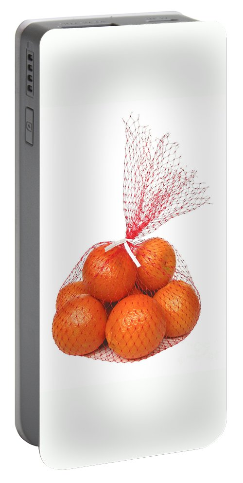 Oranges Portable Battery Charger featuring the photograph Bag Of Oranges by Ann Horn