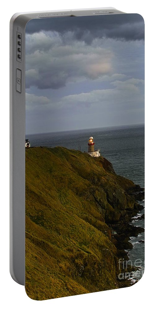 Lighthouse Portable Battery Charger featuring the photograph Baily Lighthouse by William Cleary