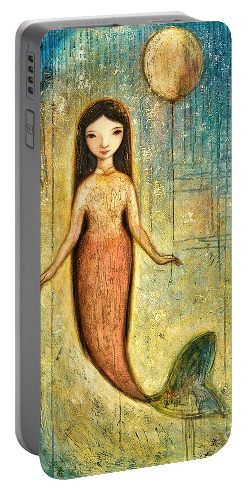 Mermaid Art Portable Battery Charger featuring the painting Balance by Shijun Munns