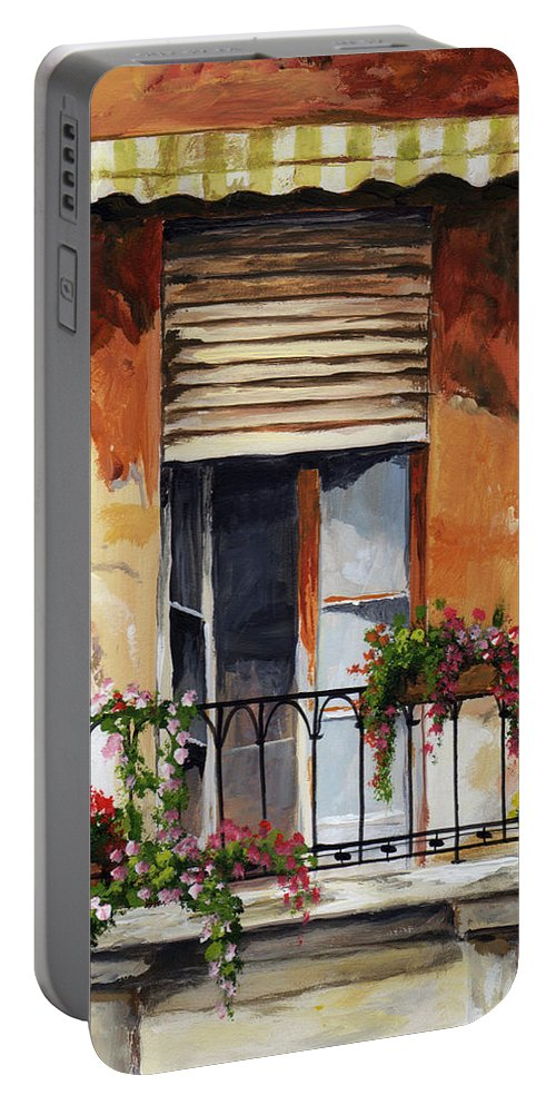 Balcony Portable Battery Charger featuring the painting Balcony Of Ancona by Voros Edit