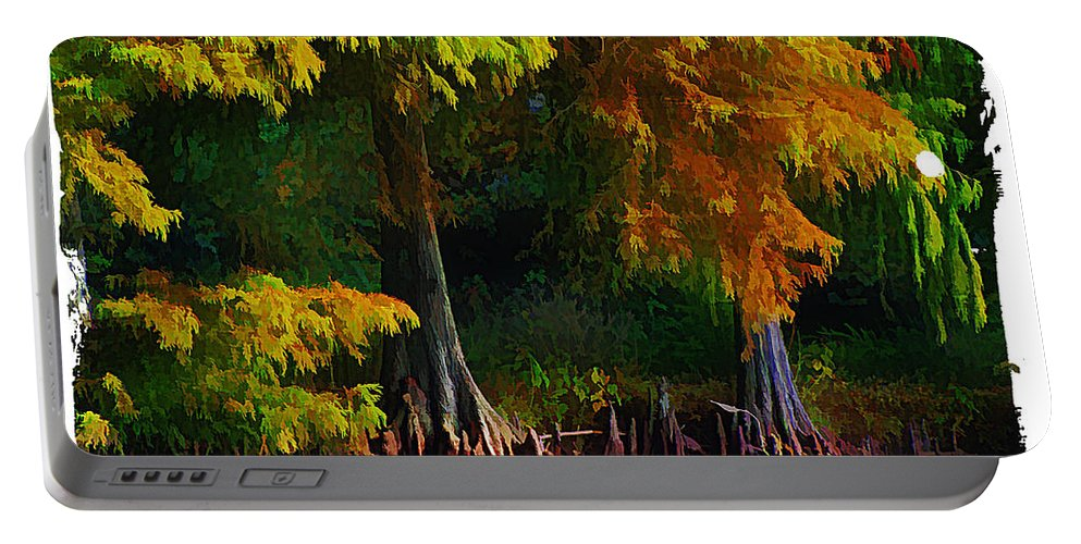 Cypress Portable Battery Charger featuring the photograph Bald Cypress 3 - Digital Effect by Debbie Portwood