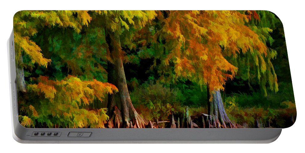 Cypress Portable Battery Charger featuring the photograph Bald Cypress 4 - Digital Effect by Debbie Portwood