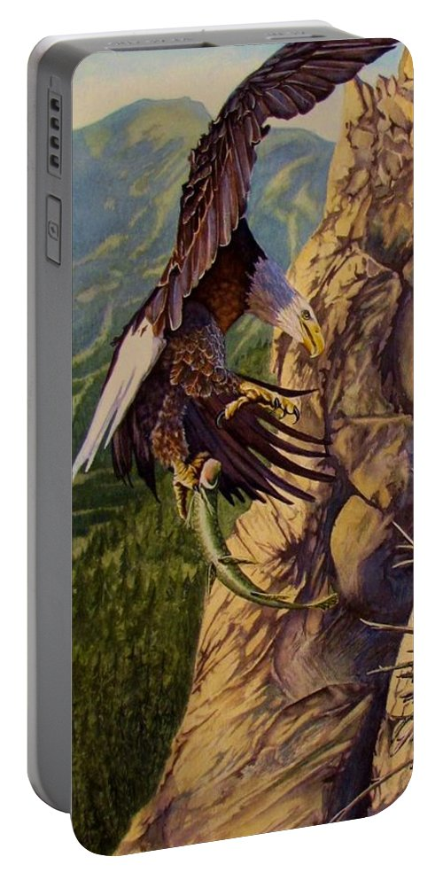 Eagle Portable Battery Charger featuring the painting Bald Eagle by Greg and Linda Halom