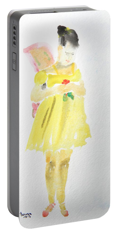 Ballet Portable Battery Charger featuring the painting Ballerina With The Broken Wing by Marwan George Khoury