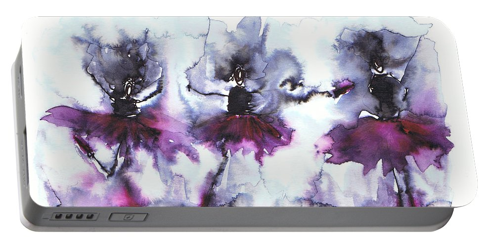 Ballet Dancers Art Portable Battery Charger featuring the painting Ballet Dancers by Justyna JBJart
