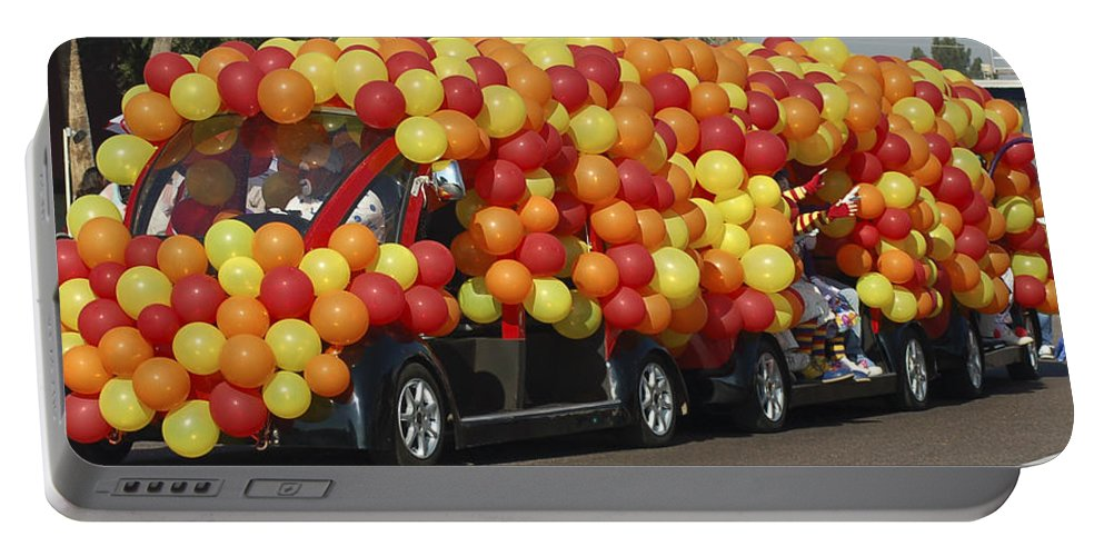 Clowns Portable Battery Charger featuring the photograph Balloon Car by Jon Berghoff