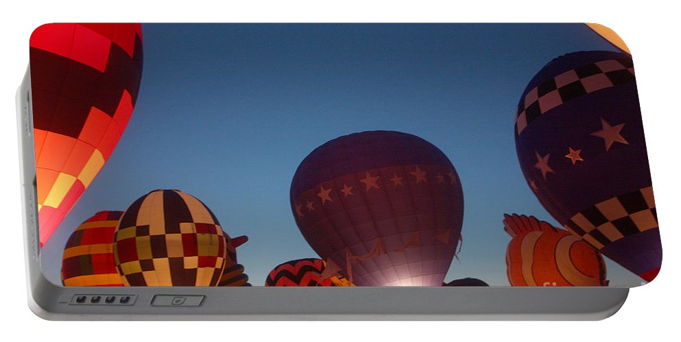 Hot Air Balloons Portable Battery Charger featuring the photograph Balloon-glow-7808 by Gary Gingrich Galleries