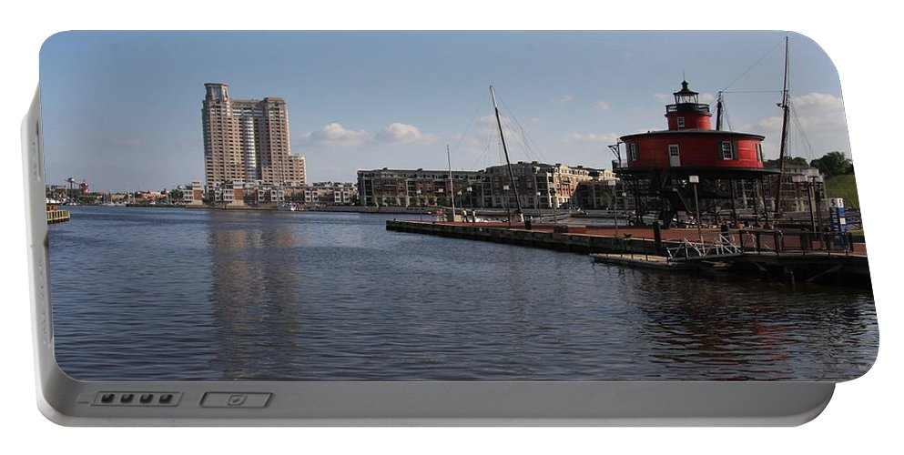 Harbor Portable Battery Charger featuring the photograph Baltimore Harbor With Seven Foot Knoll Light by Christiane Schulze Art And Photography