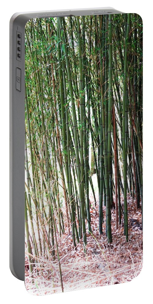 Nature Portable Battery Charger featuring the painting Bamboo By Roadsides Cherry Hill Roadside Greens      by Navin Joshi