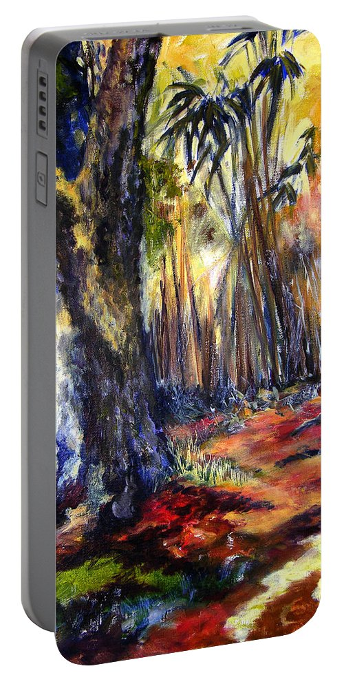 Colorful Portable Battery Charger featuring the painting Bamboo Garden With Bunny by Julianne Felton