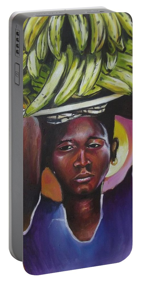 Yellow Portable Battery Charger featuring the painting Banana Hawker by Olaoluwa Smith