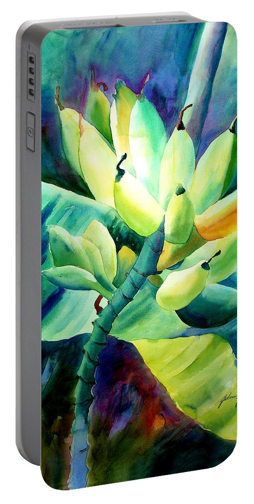 Watercolor Portable Battery Charger featuring the painting Bananas 6-12-06 Julianne Felton by Julianne Felton