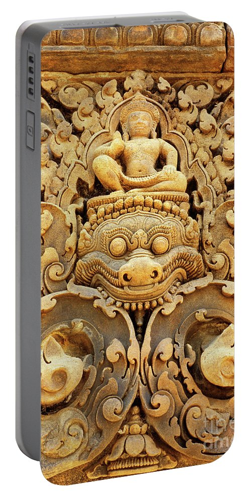Banteay Portable Battery Charger featuring the photograph Banteay Srei Carving 01 by Rick Piper Photography