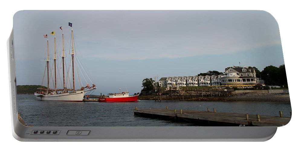 Schooner Portable Battery Charger featuring the photograph Bar Harbor Scene Maine by Christiane Schulze Art And Photography