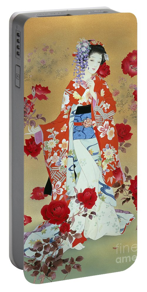 Haruyo Morita Portable Battery Charger featuring the digital art Bara by Haruyo Morita