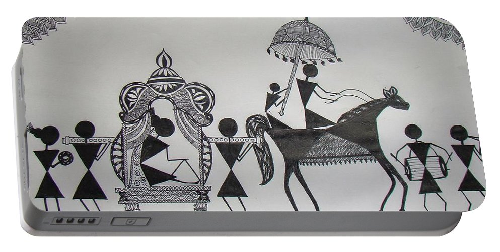 Warli Portable Battery Charger featuring the painting Baraat - The Wedding Procession by Sachin Raverkar
