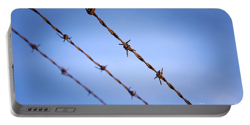Macro Portable Battery Charger featuring the photograph Barbed Wire Close by Tim Hester
