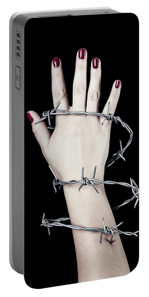 Hand Portable Battery Charger featuring the photograph Barbed Wire by Joana Kruse