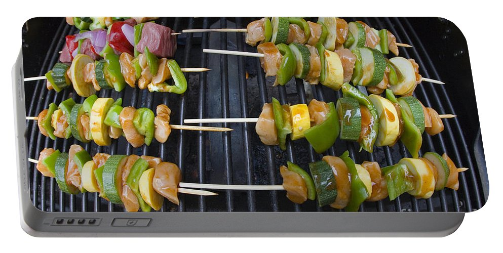 Bbq Portable Battery Charger featuring the photograph Barbeque Kabobs On Grill by Jason O Watson