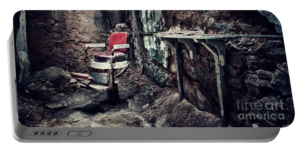 Chair Portable Battery Charger featuring the photograph Barber's Chair by Claudia Kuhn