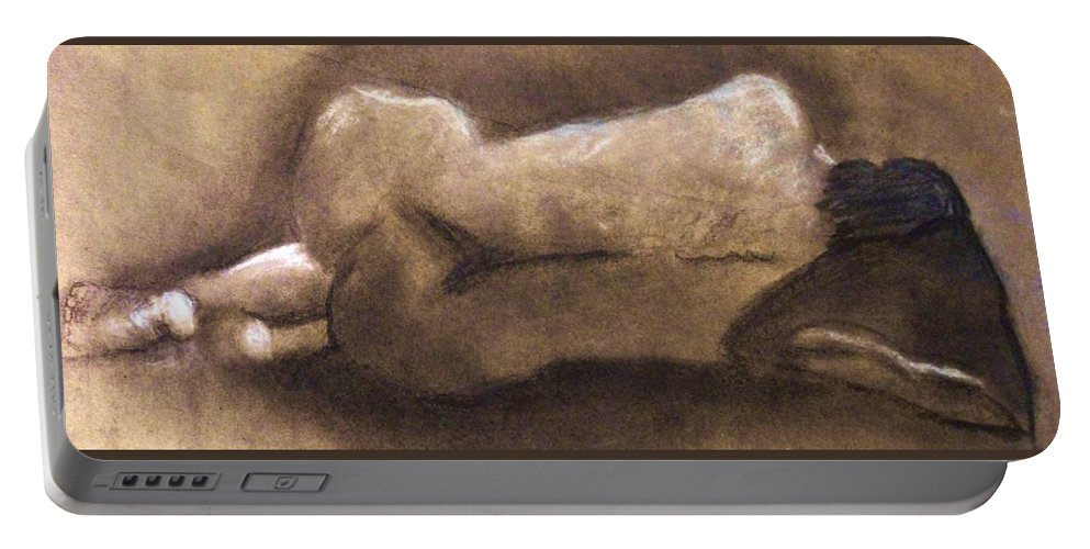 Nude Portable Battery Charger featuring the drawing Barbiturate Bliss by Crystal Menicola