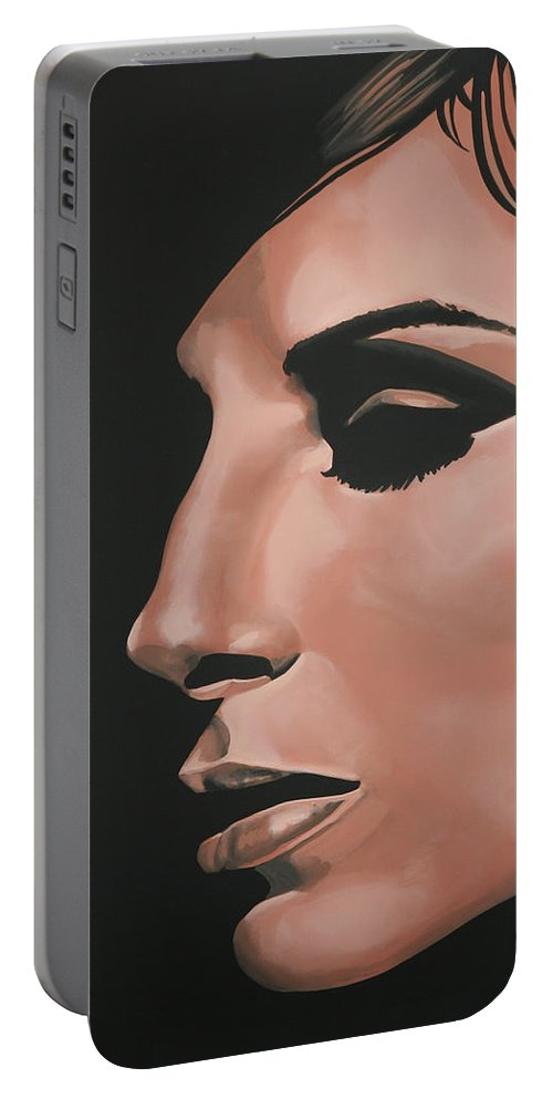 Barbra Streisand Portable Battery Charger featuring the painting Barbra Streisand by Paul Meijering