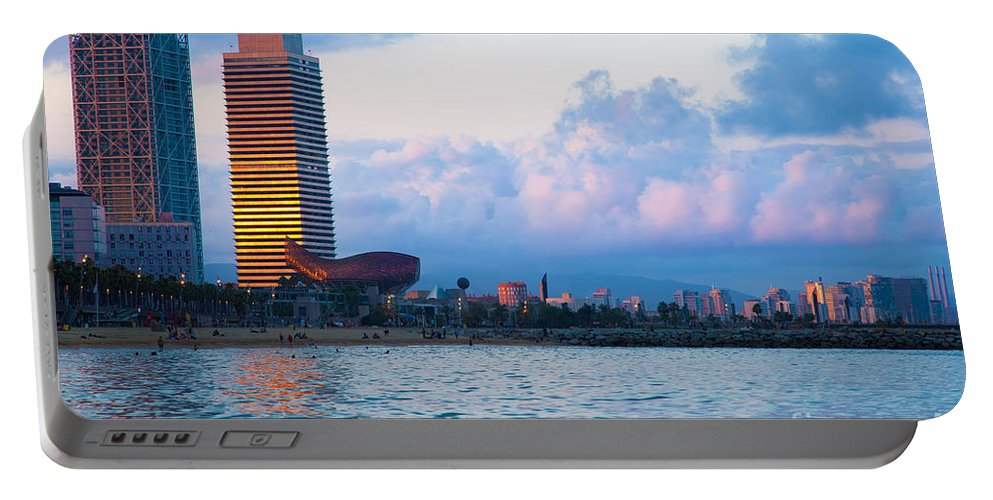 Barcelona Portable Battery Charger featuring the photograph Barcelona Skyline From Sea by Michal Bednarek