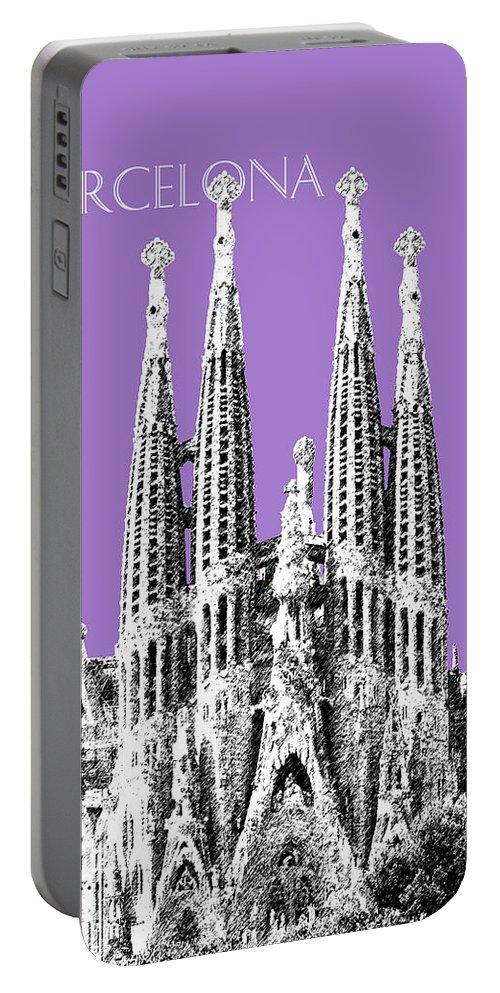 Architecture Portable Battery Charger featuring the digital art Barcelona Skyline La Sagrada Familia - Violet by DB Artist