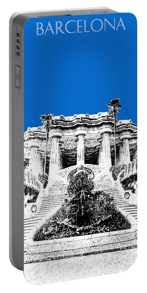 Architecture Portable Battery Charger featuring the digital art Barcelona Skyline Park Guell - Blue by DB Artist