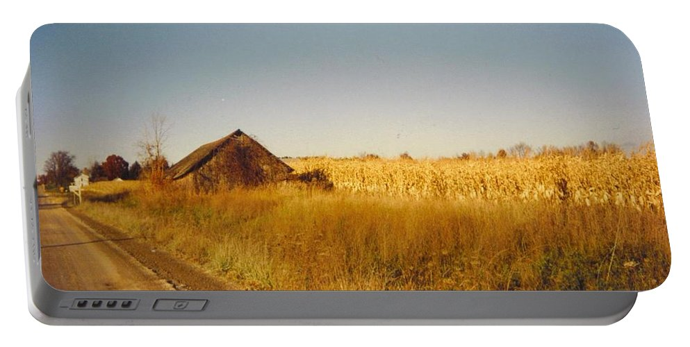 Weathered Michigan Barn And Corn Field Portable Battery Charger featuring the photograph Barn And Corn Field by Robert Floyd