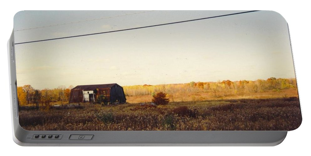 Michigan Barn And Wild Flowers Portable Battery Charger featuring the photograph Barn And Landscape by Robert Floyd