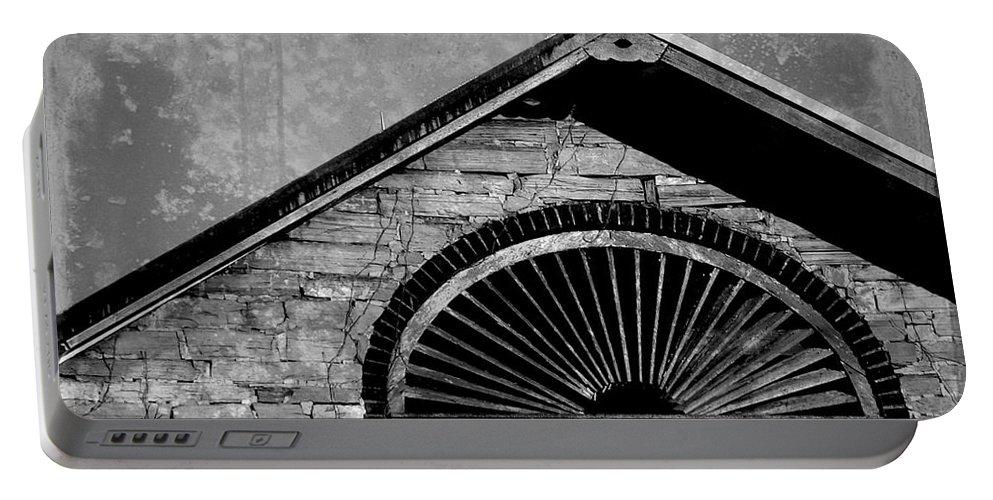 Joseph Skompski Portable Battery Charger featuring the photograph Barn Detail - Black And White by Joseph Skompski