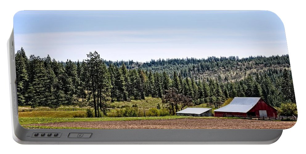 Barn Portable Battery Charger featuring the photograph Barn In The Trees by Image Takers Photography LLC