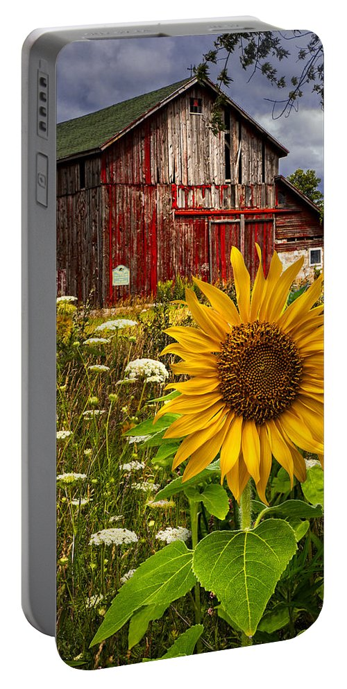 Barn Portable Battery Charger featuring the photograph Barn Meadow Flowers by Debra and Dave Vanderlaan