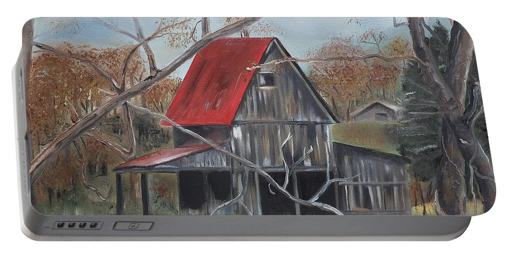 Barn Portable Battery Charger featuring the painting Barn - Red Roof - Autumn by Jan Dappen