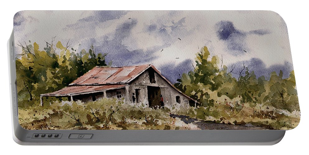 Barn Portable Battery Charger featuring the painting Barn Under Puffy Clouds by Sam Sidders