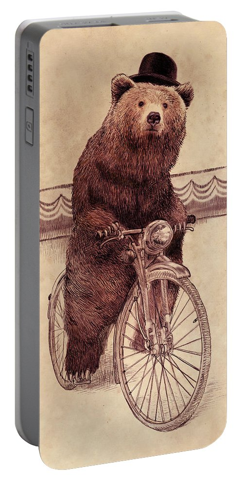 Bear Portable Battery Charger featuring the drawing Barnabus by Eric Fan