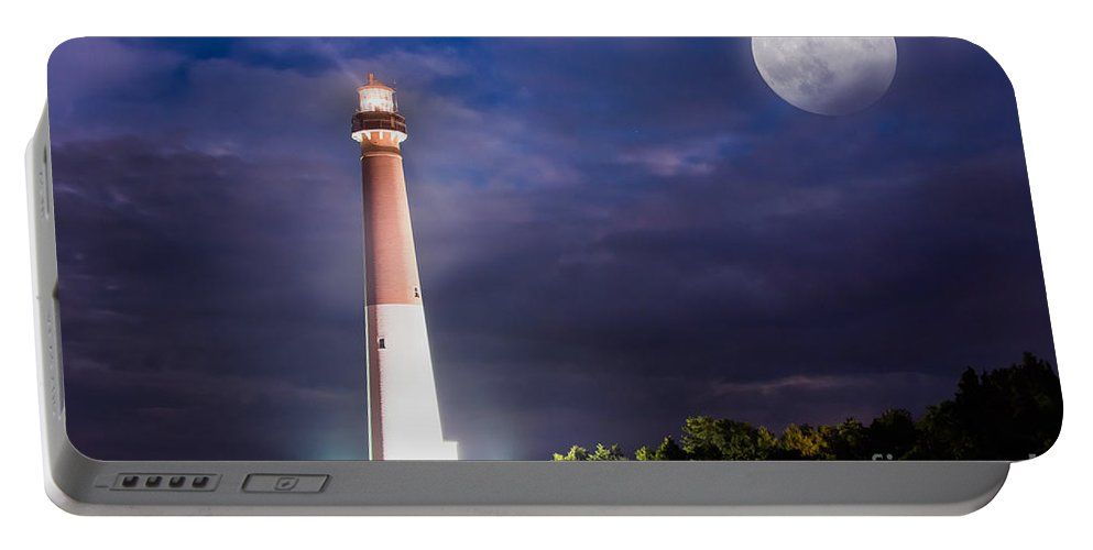 Super Moon Portable Battery Charger featuring the photograph Barnegat Lighthouse Super Moon by Michael Ver Sprill
