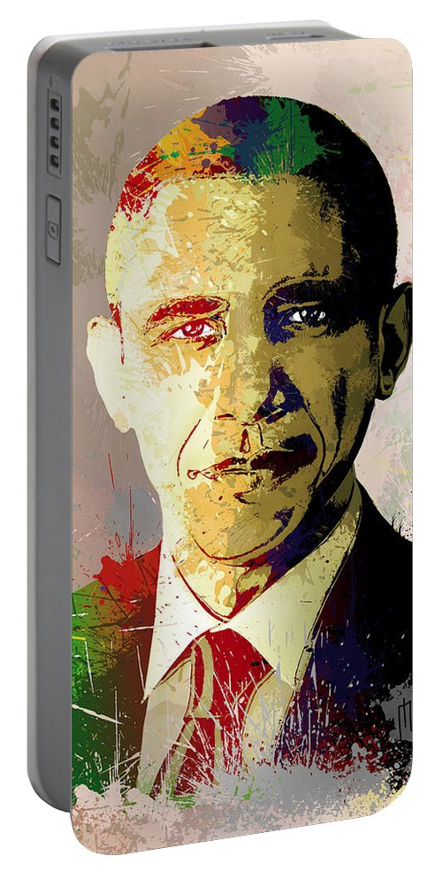 Obama Portable Battery Charger featuring the painting Barrack Obama by Anthony Mwangi