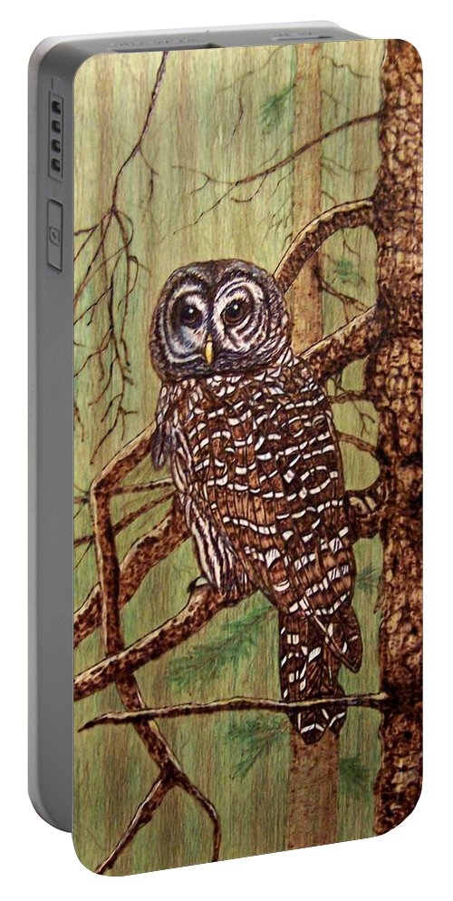 Pyrography Portable Battery Charger featuring the pyrography Barred Owl by Danette Smith