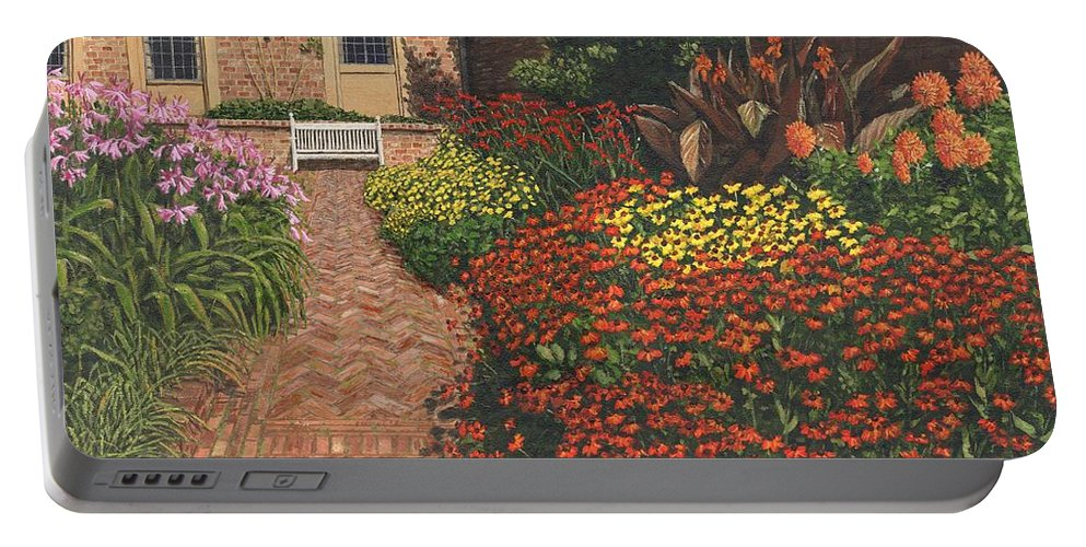 Landscape Portable Battery Charger featuring the painting Barrington Court Gardens Somerset by Richard Harpum