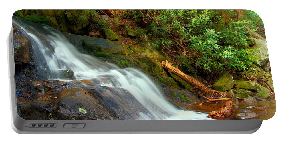 Base Of Laurel Falls Portable Battery Charger featuring the photograph Base Of Laurel Falls by Carolyn Derstine