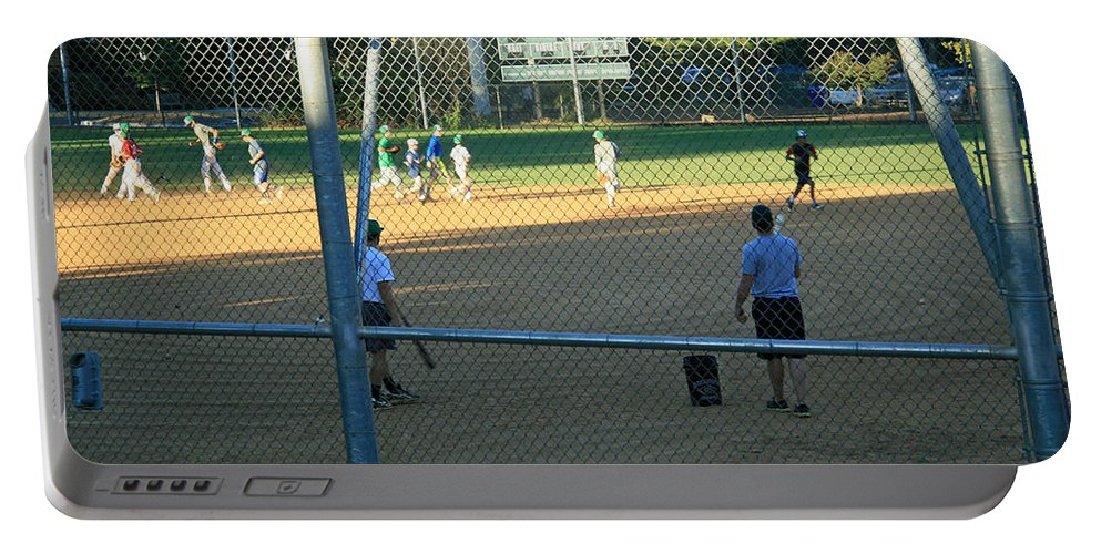 Baseball Portable Battery Charger featuring the photograph Baseball Practice by Cora Wandel