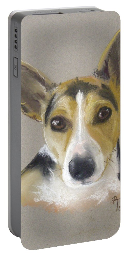 Dog Portable Battery Charger featuring the pastel Basil by Rosemarie Temple-Smith