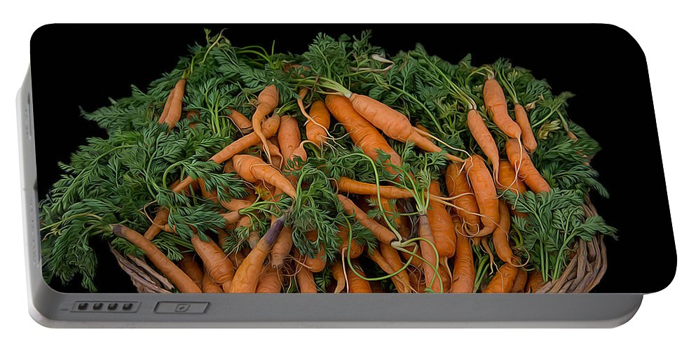 Basket Portable Battery Charger featuring the photograph Basket Of Carrots by Michael Moriarty