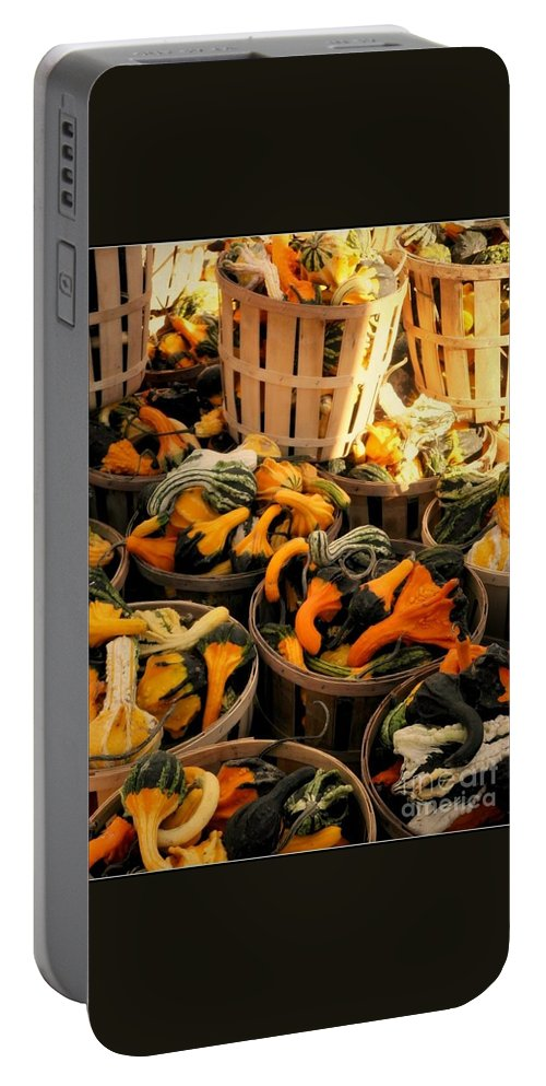 Gourds Portable Battery Charger featuring the photograph Baskets Of Gourds by Beth Ferris Sale