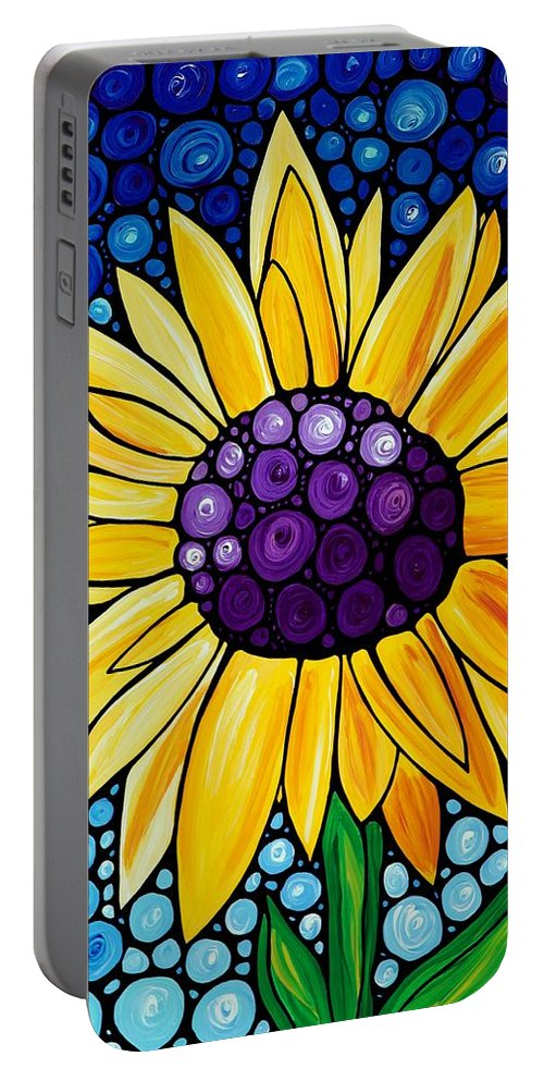 Floral Art Portable Battery Charger featuring the painting Basking In The Glory by Sharon Cummings